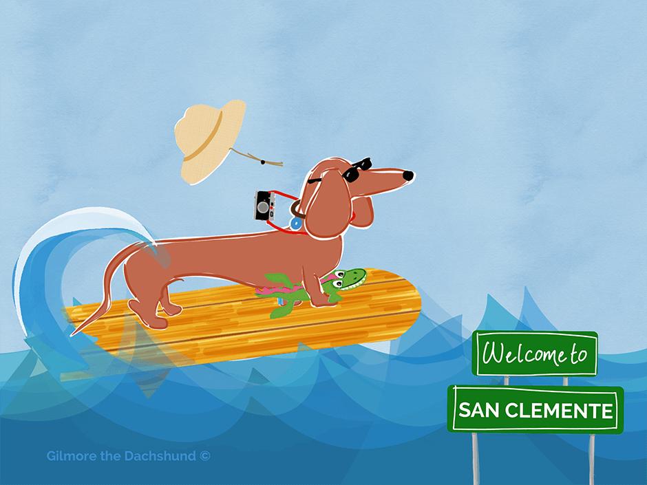surfing dachshund