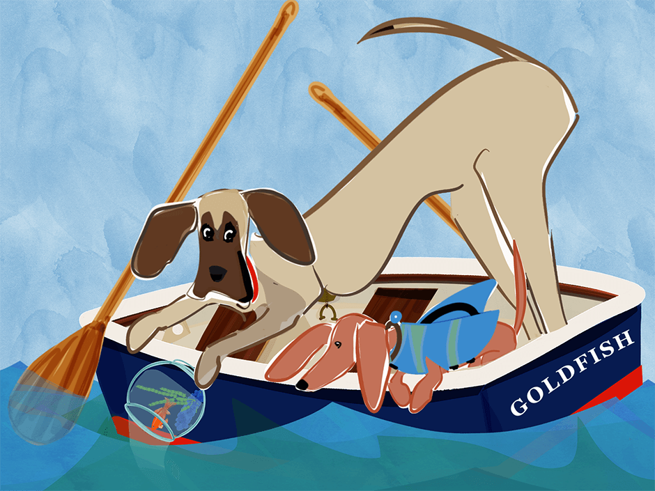 Gilmore the Dachshund© and Geoffreythe Great Dane are off on an adventure at sea