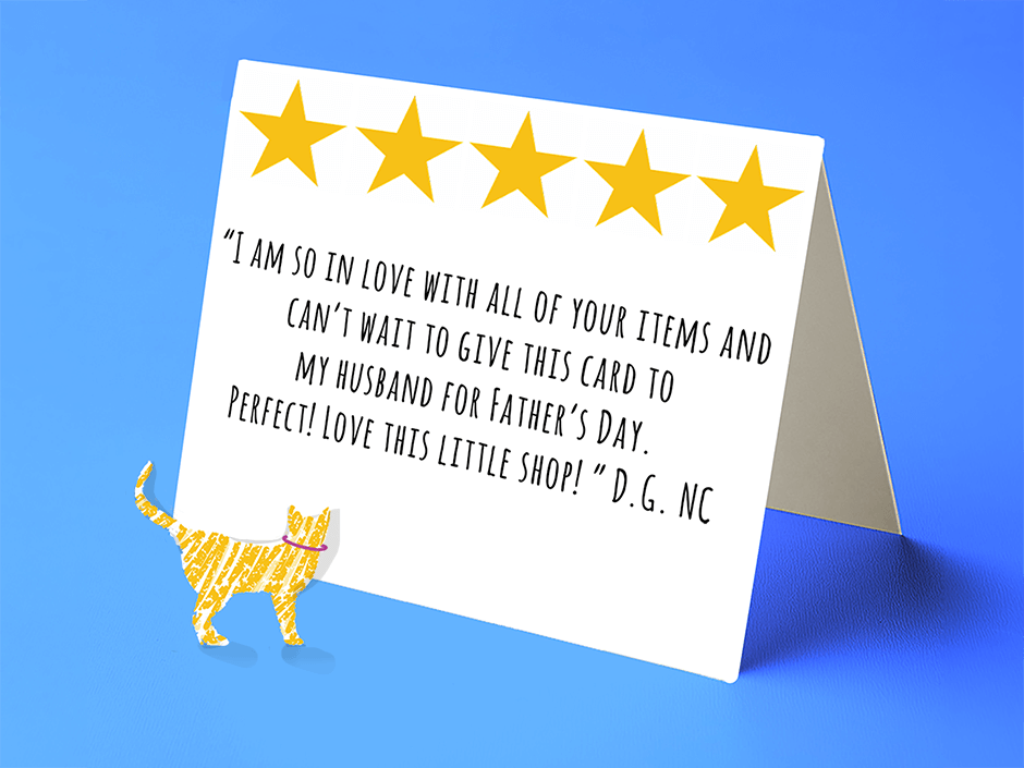 pretty yellow cat wit a 5 star review of Gilmore the Dachshund