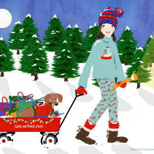 Peanut and Carlie Custom Portrait was made for a family Christmas gift. Carlie and her dog Peanut out on a Christmas Eve adventure. This drawing was professionally printed and framed and then redesigned to use as custom Christmas cards with Snow Globe stickers for the envelopes.