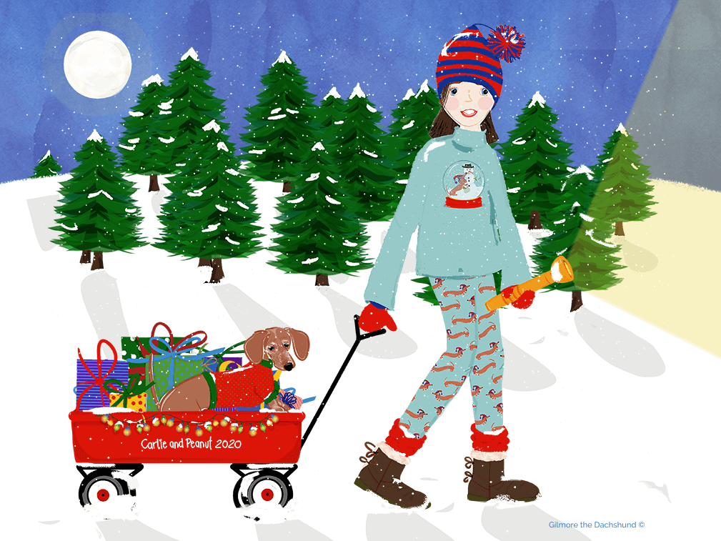 Gilmore the Dachshund © drawing of a girl and her dog for Christmas 2020