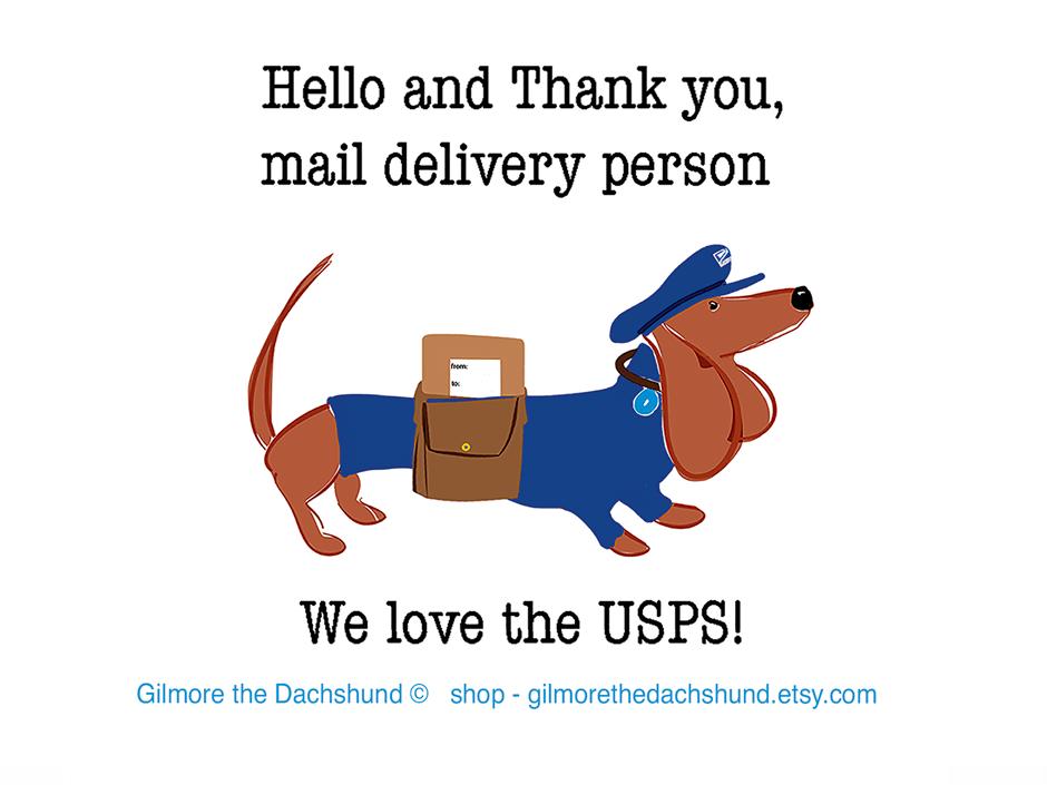 suopport the usps dachshund drawing