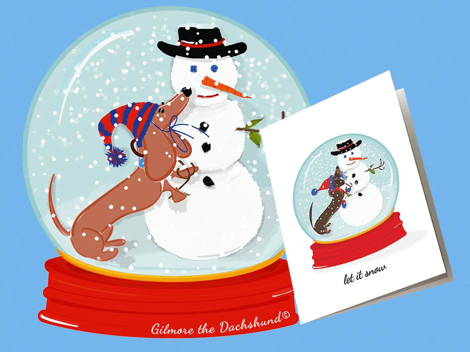 adorable dachshund snow globe