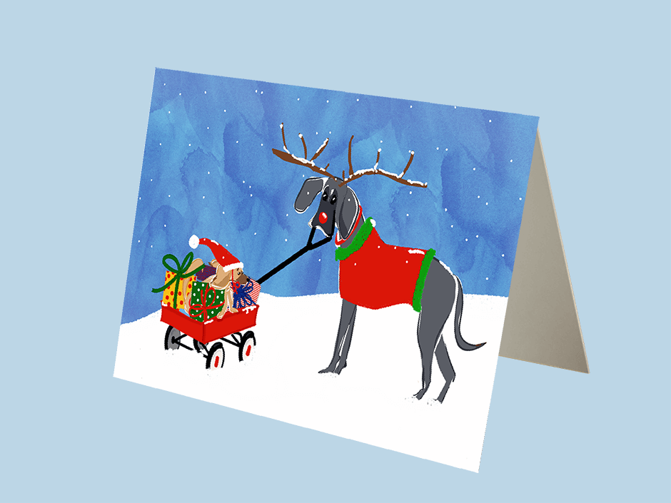 Gilmore the Dachshund Custom Christmas Card Blue and Lola 2019