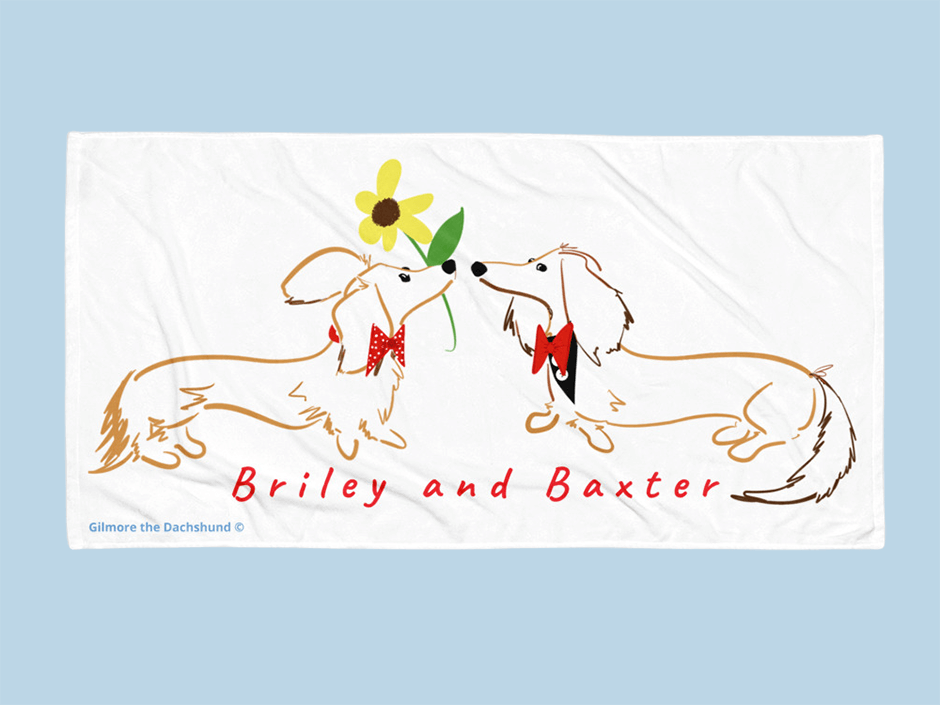 custom dachshund bech towel
