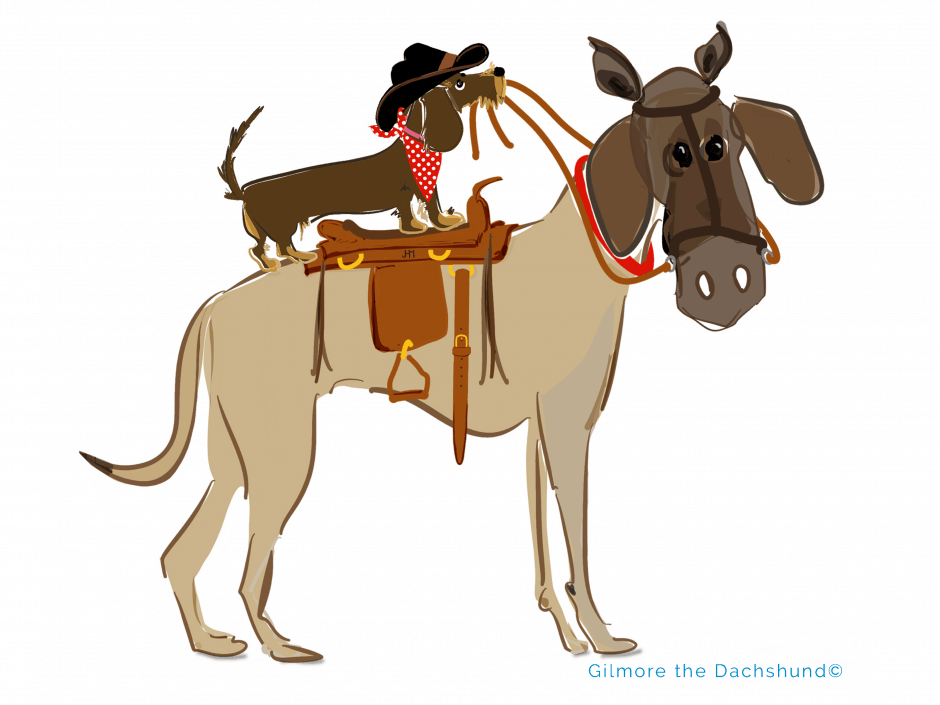 Dachshund and great dane ready for adventure drawing