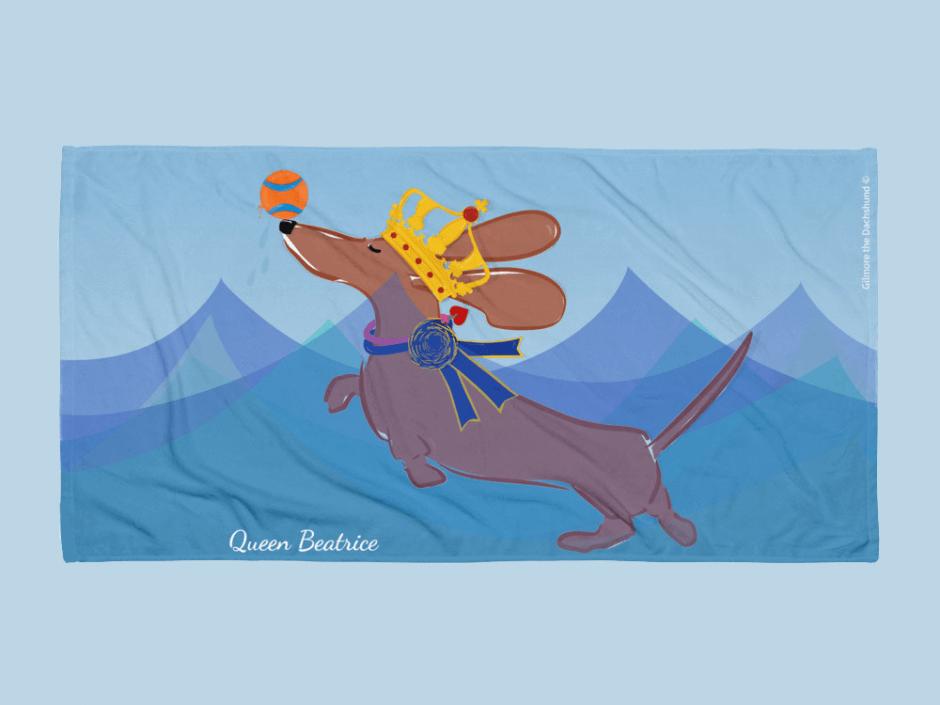 Gilmore the Dachshund© custom dachshund beach towel