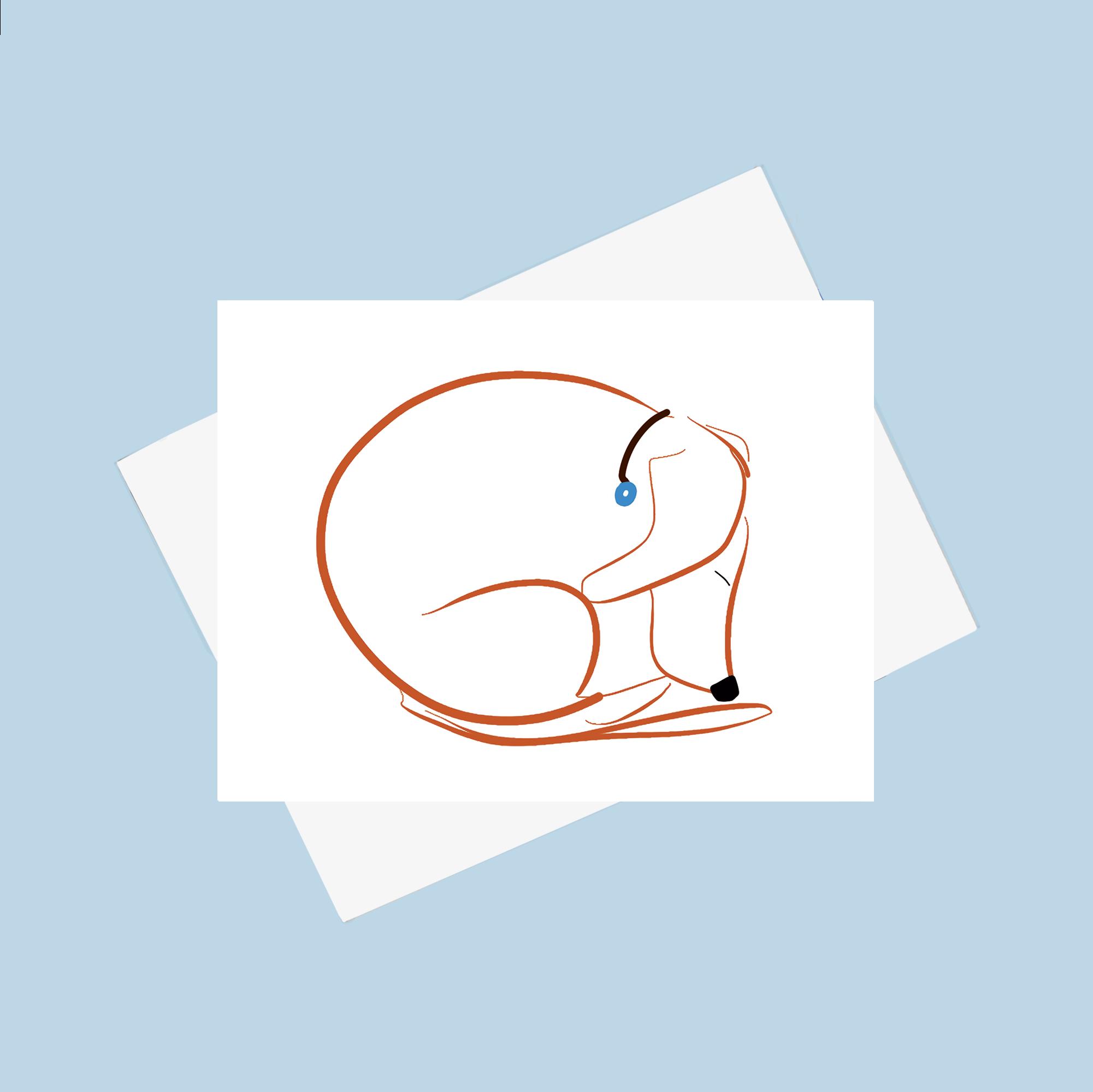 sleepy dachshund drawing on a card