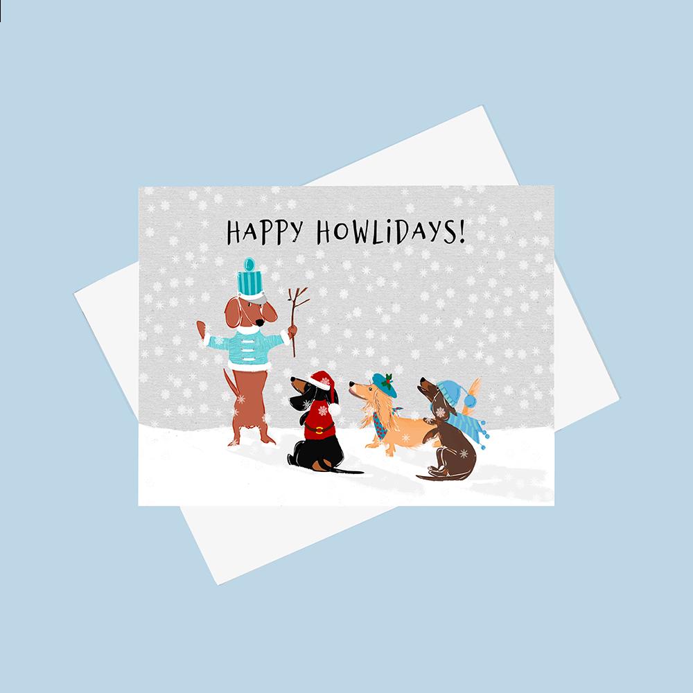 Gilmore the Dachshund Nutcracker Chorus Holiday Greeting Card